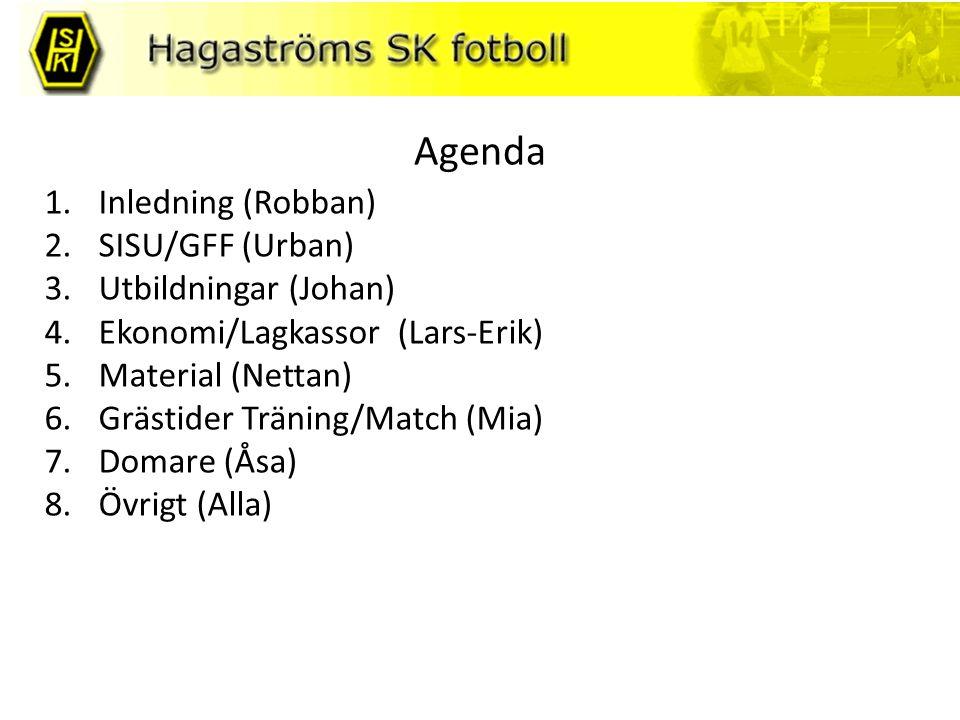 Agenda 1.Inledning (Robban) 2.SISU/GFF (Urban) 3.Utbildningar (Johan) 4.Ekonomi/Lagkassor (Lars-Erik) 5.Material (Nettan) 6.Grästider Träning/Match (M