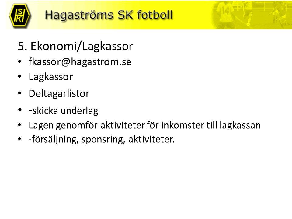 5. Ekonomi/Lagkassor fkassor@hagastrom.se Lagkassor Deltagarlistor - skicka underlag Lagen genomför aktiviteter för inkomster till lagkassan -försäljn