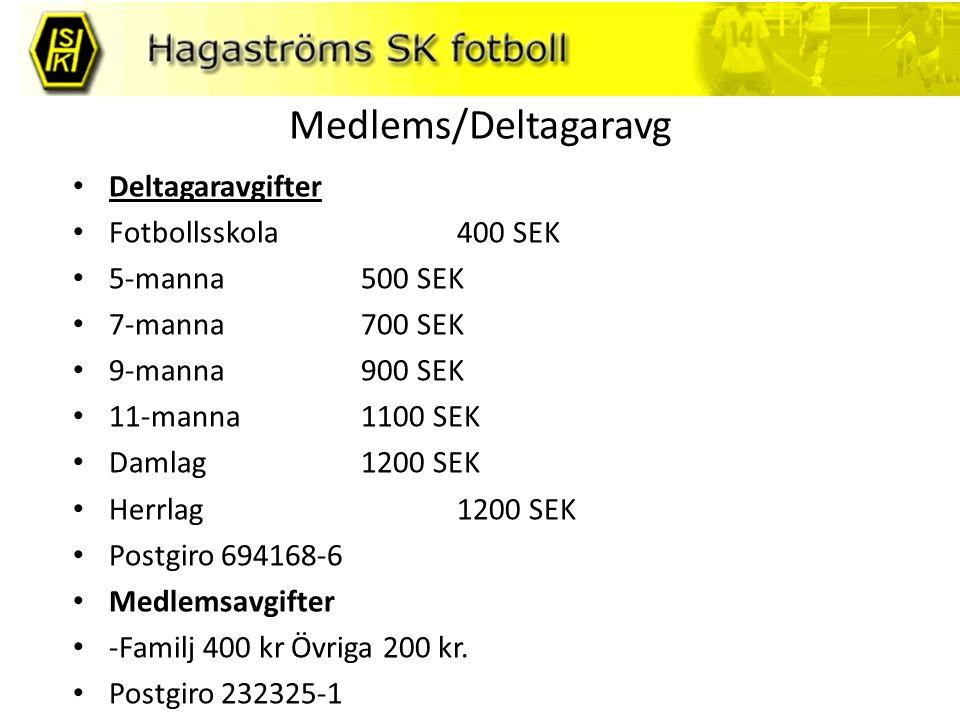 Medlems/Deltagaravg Deltagaravgifter Fotbollsskola400 SEK 5-manna 500 SEK 7-manna 700 SEK 9-manna 900 SEK 11-manna 1100 SEK Damlag1200 SEK Herrlag 120
