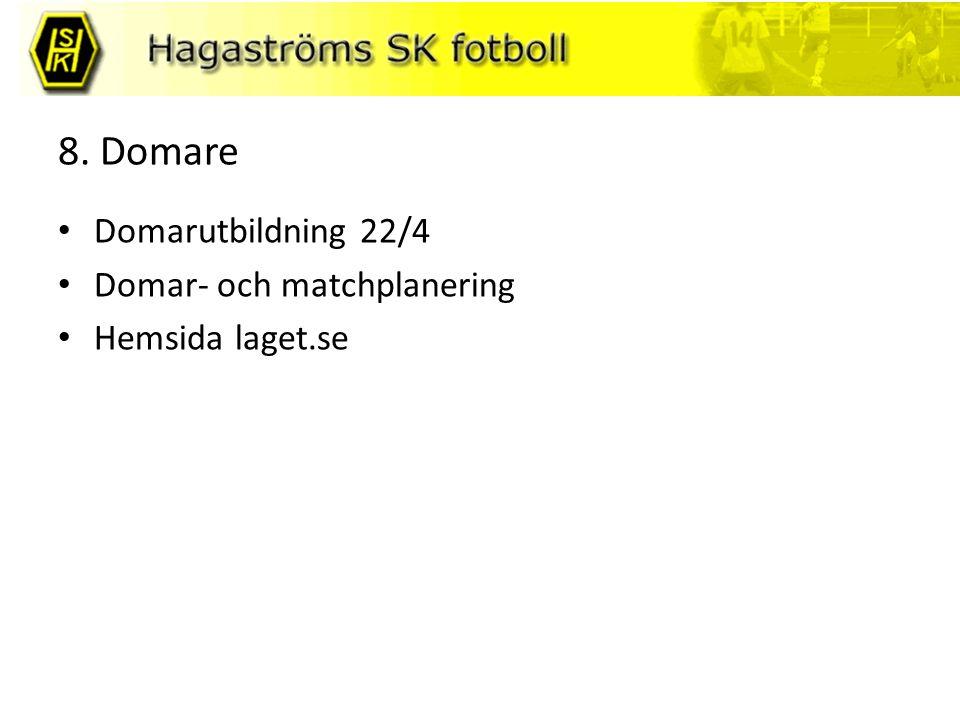 8. Domare Domarutbildning 22/4 Domar- och matchplanering Hemsida laget.se