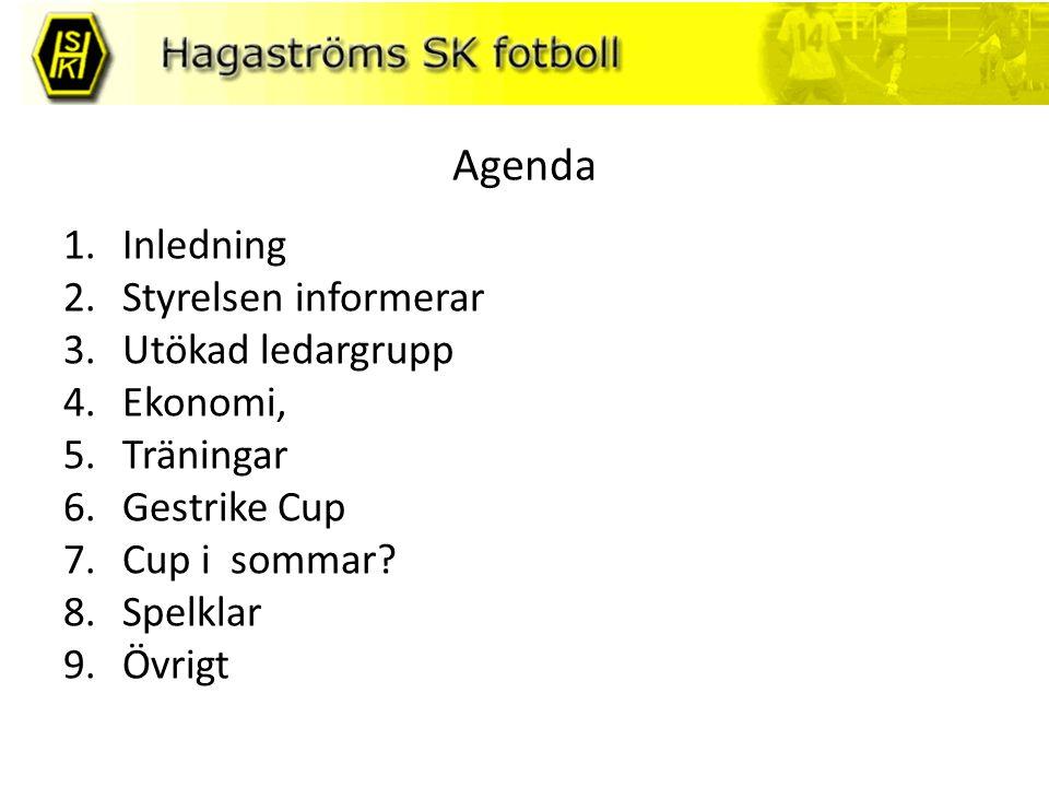 Agenda 1.Inledning 2.Styrelsen informerar 3.Utökad ledargrupp 4.Ekonomi, 5.Träningar 6.Gestrike Cup 7.Cup i sommar.