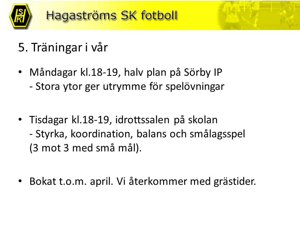 5. Träningar i vår Måndagar kl.18-19, halv plan på Sörby IP - Stora ytor ger utrymme för spelövningar Tisdagar kl.18-19, idrottssalen på skolan - Styr