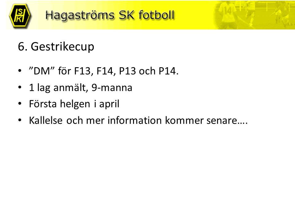 6. Gestrikecup DM för F13, F14, P13 och P14.