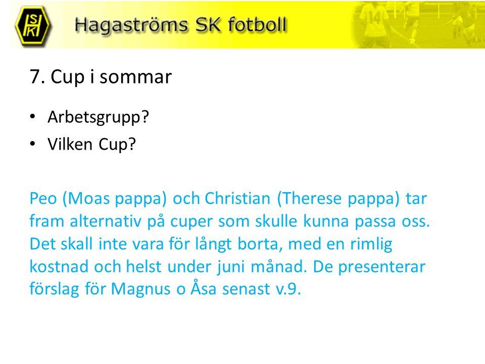 7. Cup i sommar Arbetsgrupp. Vilken Cup.