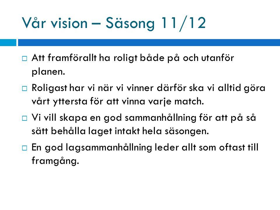 Vår vision – Säsong 11/12  Att framförallt ha roligt både på och utanför planen.