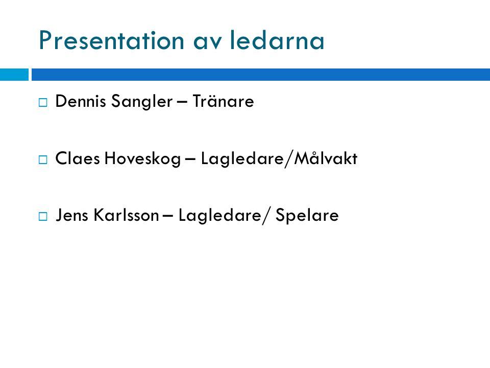 Presentation av ledarna  Dennis Sangler – Tränare  Claes Hoveskog – Lagledare/Målvakt  Jens Karlsson – Lagledare/ Spelare