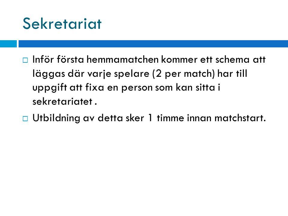 Sekretariat  Inför första hemmamatchen kommer ett schema att läggas där varje spelare (2 per match) har till uppgift att fixa en person som kan sitta i sekretariatet.