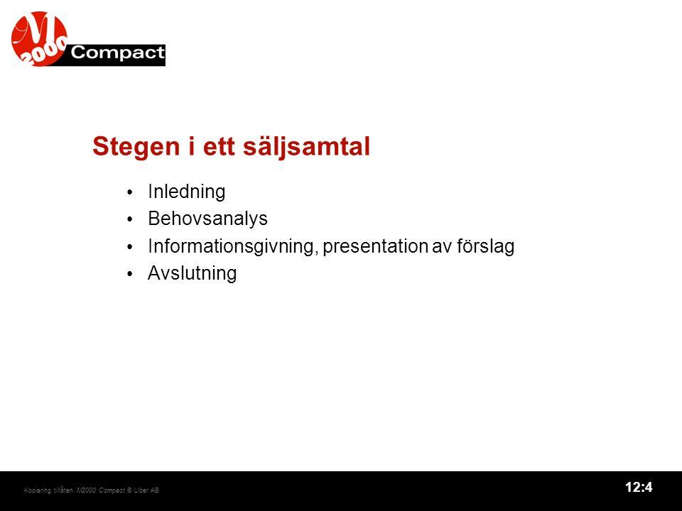 12:4 Kopiering tillåten. M2000 Compact © Liber AB Stegen i ett säljsamtal Inledning Behovsanalys Informationsgivning, presentation av förslag Avslutni