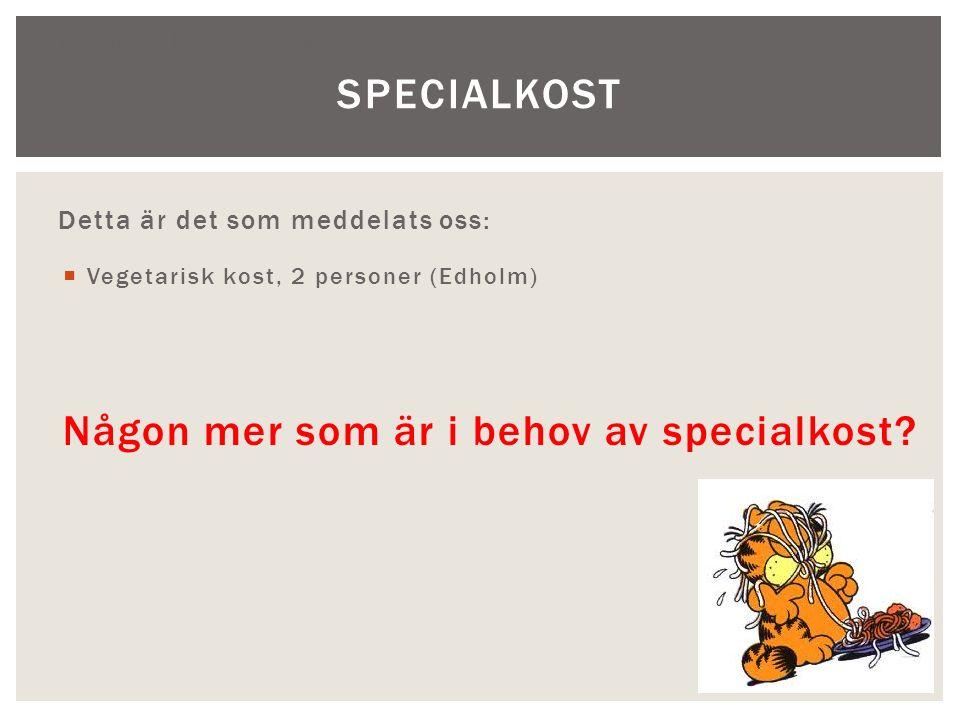 Träningsläger på Åland 15-16 juni 2013 Detta är det som meddelats oss:  Vegetarisk kost, 2 personer (Edholm) Någon mer som är i behov av specialkost?