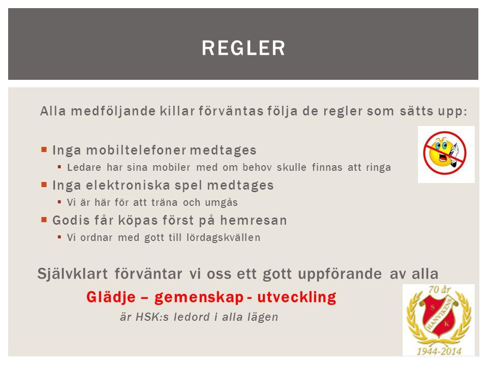 NI FÖRÄLDRAR Av er föräldrar förväntar vi oss följande:  Prata med ert barn om vad som krävs när man åker på läger  Gå igenom de få regler som gäller  Fyll i blanketten med kontaktuppgifter mm För att följa med ska givetvis följande avgifter vara betalda:  Medlemsavgift för 2013  Friköp/förtjänst vid New body-försäljningen  Friköp/förtjänst vid försäljning av grillkol (inte klart i dagsläget)  Avgiften för lägret, (spelare 300kr, förälder 800kr)