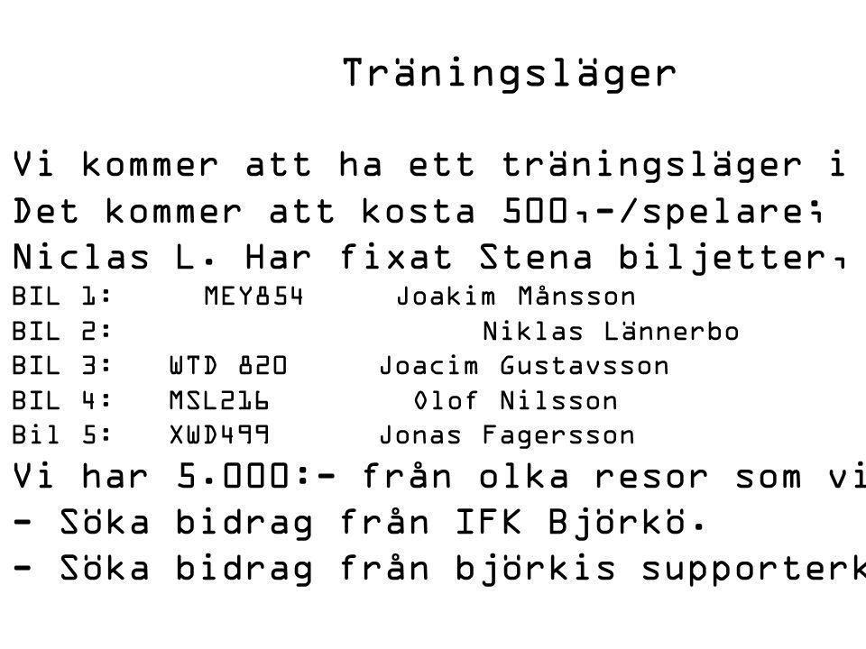 Träningsläger Vi kommer att ha ett träningsläger i år 5-7 september i danmark, saeby.