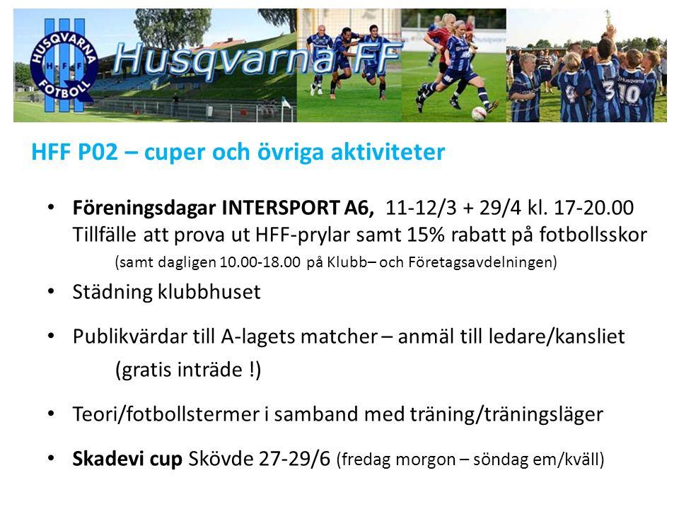HFF P02 – cuper och övriga aktiviteter Föreningsdagar INTERSPORT A6, 11-12/3 + 29/4 kl.