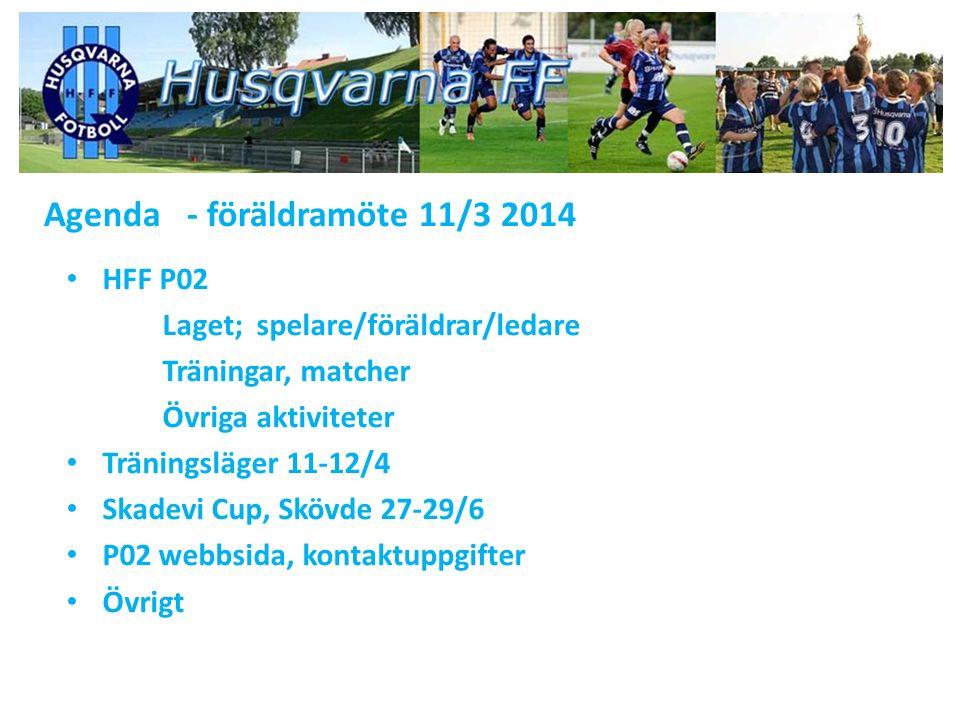 Agenda - föräldramöte 11/3 2014 HFF P02 Laget; spelare/föräldrar/ledare Träningar, matcher Övriga aktiviteter Träningsläger 11-12/4 Skadevi Cup, Skövde 27-29/6 P02 webbsida, kontaktuppgifter Övrigt