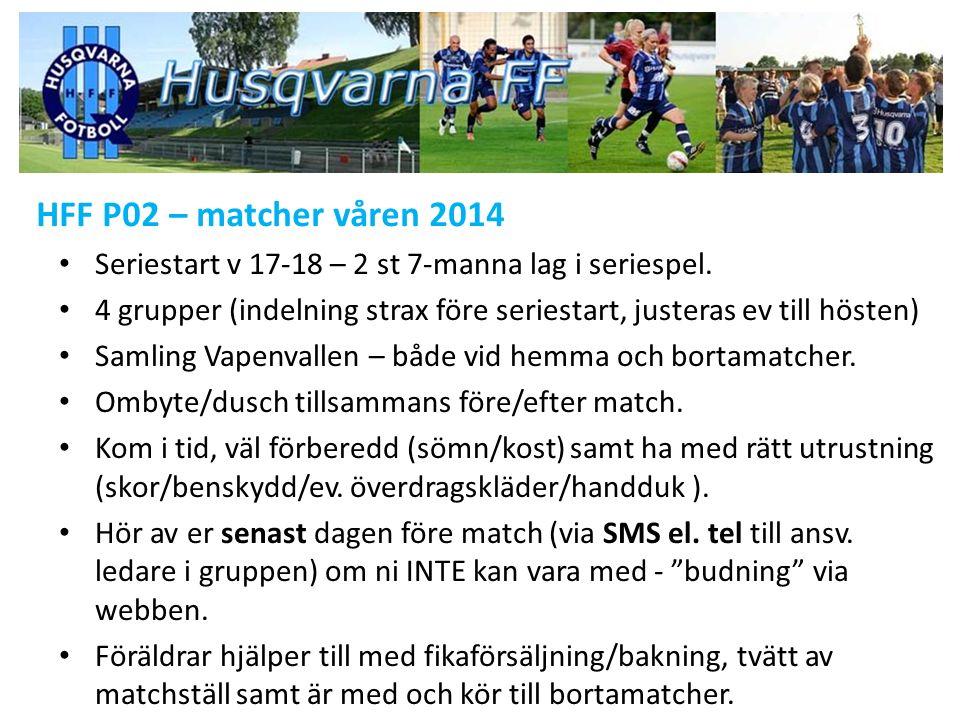HFF P02 – matcher våren 2014 Seriestart v 17-18 – 2 st 7-manna lag i seriespel. 4 grupper (indelning strax före seriestart, justeras ev till hösten) S