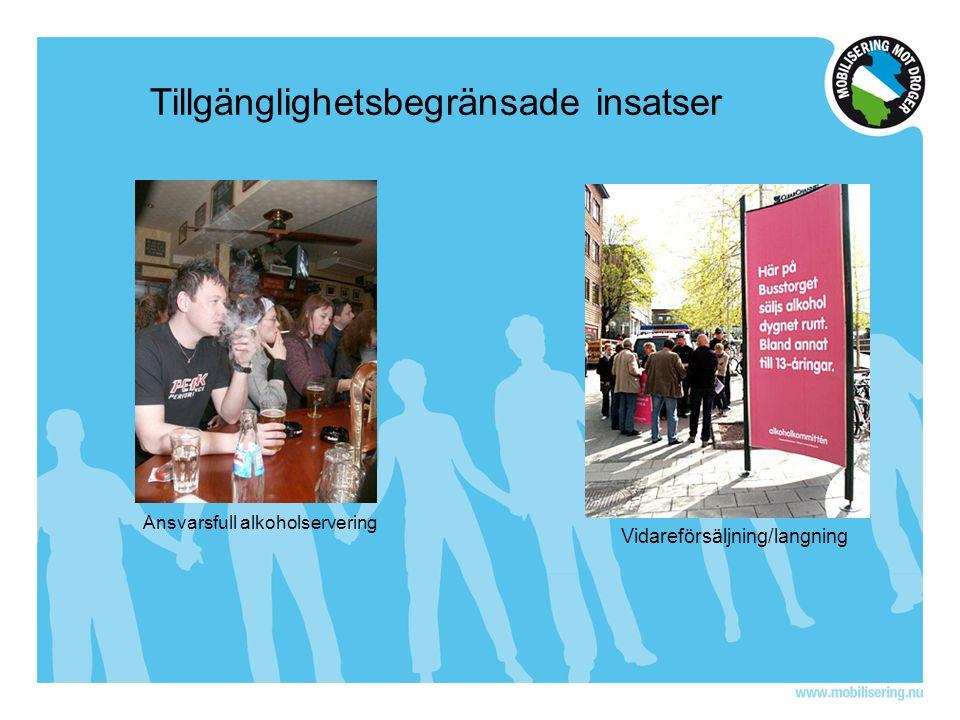 Tillgänglighetsbegränsade insatser Ansvarsfull alkoholservering Vidareförsäljning/langning