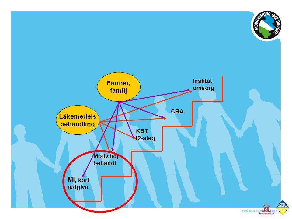 MI, kort rådgivn Motiv.höjbehandl KBT KBT12-steg CRA Institutomsorg Läkemedels behandling Partner, familj