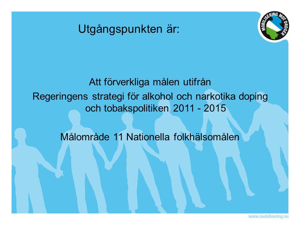 Utgångspunkten är: Att förverkliga målen utifrån Regeringens strategi för alkohol och narkotika doping och tobakspolitiken 2011 - 2015 Målområde 11 Nationella folkhälsomålen
