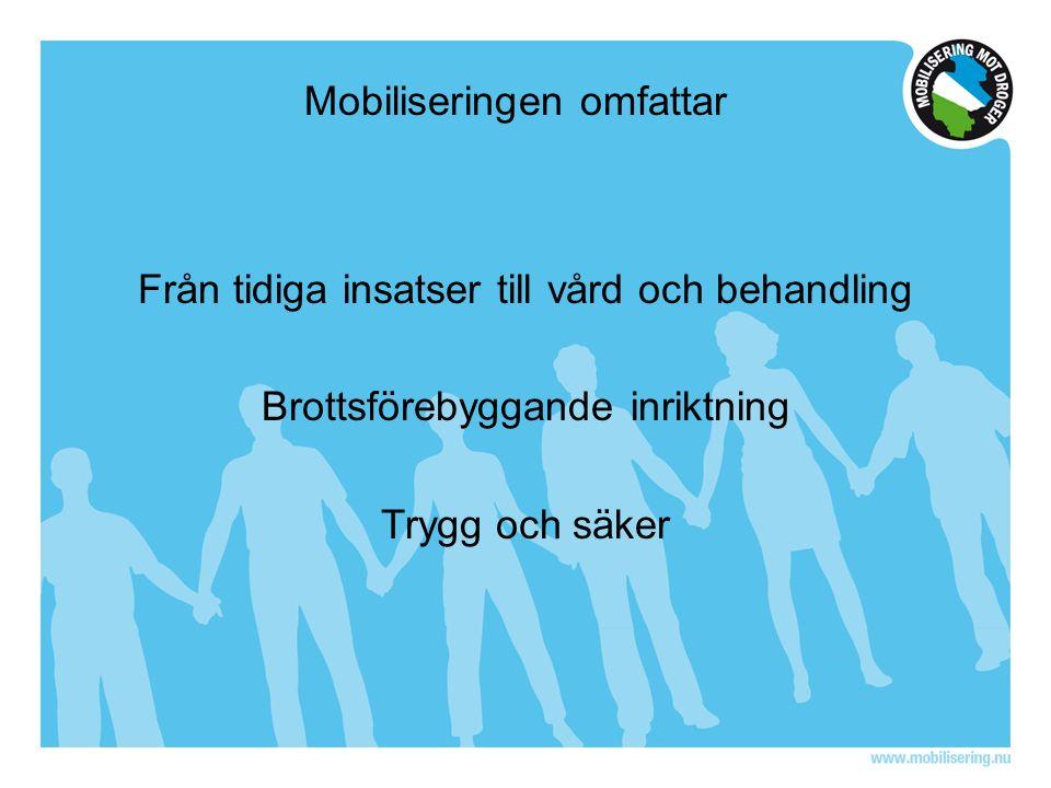 Mobiliseringen omfattar Från tidiga insatser till vård och behandling Brottsförebyggande inriktning Trygg och säker
