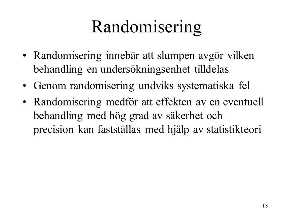 13 Randomisering Randomisering innebär att slumpen avgör vilken behandling en undersökningsenhet tilldelas Genom randomisering undviks systematiska fel Randomisering medför att effekten av en eventuell behandling med hög grad av säkerhet och precision kan fastställas med hjälp av statistikteori