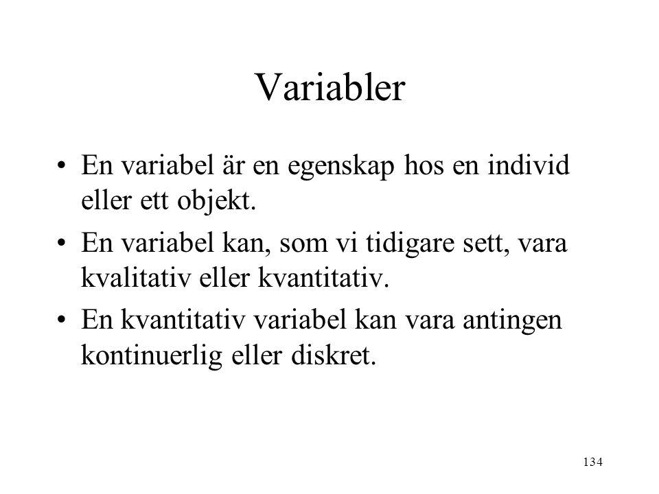 134 Variabler En variabel är en egenskap hos en individ eller ett objekt. En variabel kan, som vi tidigare sett, vara kvalitativ eller kvantitativ. En