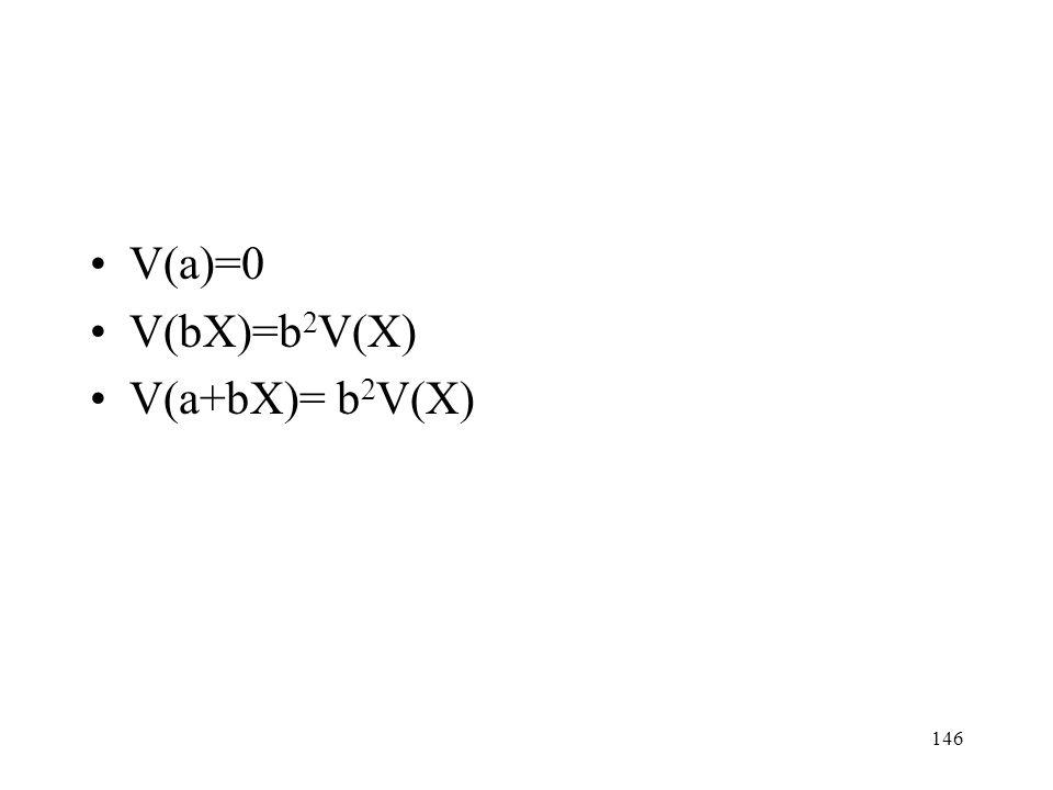 146 V(a)=0 V(bX)=b 2 V(X) V(a+bX)= b 2 V(X)