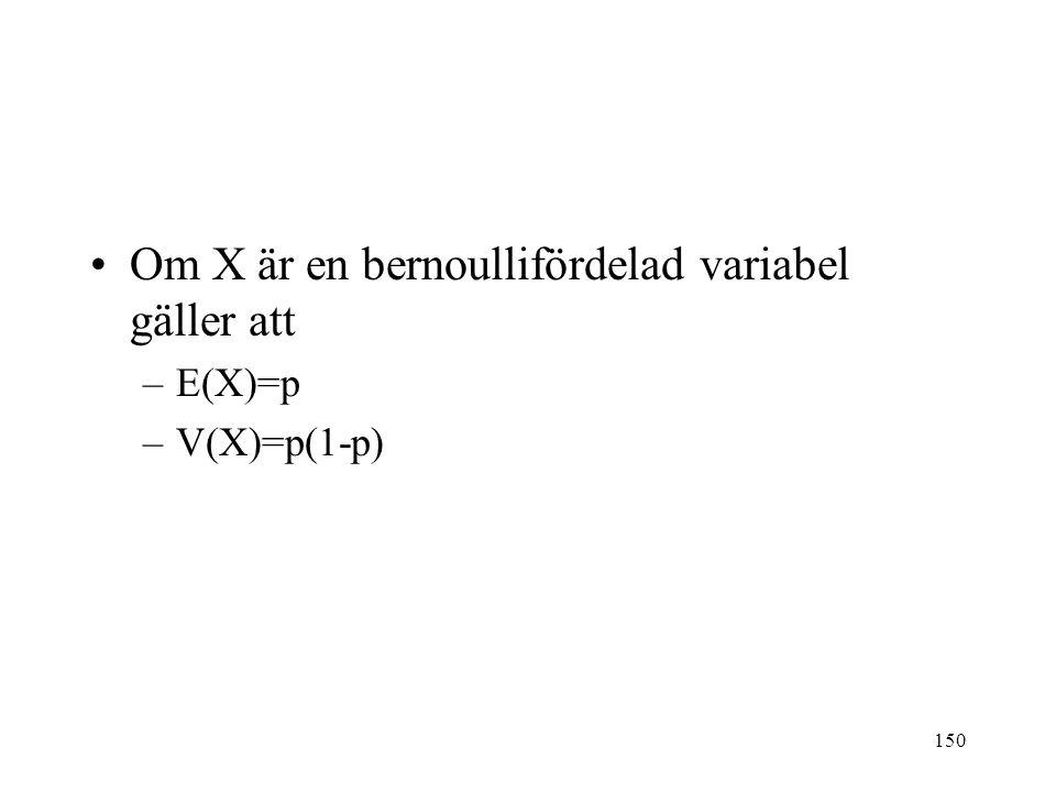 150 Om X är en bernoullifördelad variabel gäller att –E(X)=p –V(X)=p(1-p)