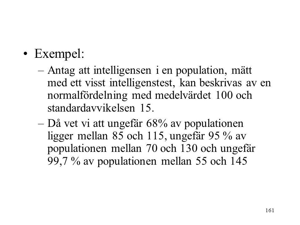 161 Exempel: –Antag att intelligensen i en population, mätt med ett visst intelligenstest, kan beskrivas av en normalfördelning med medelvärdet 100 och standardavvikelsen 15.