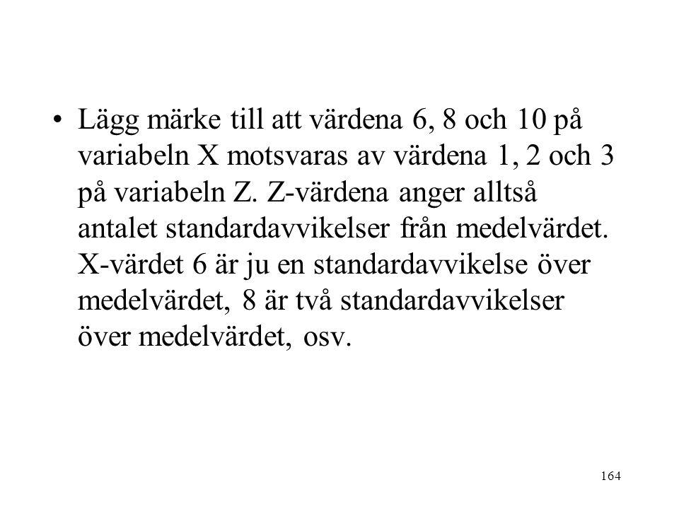 164 Lägg märke till att värdena 6, 8 och 10 på variabeln X motsvaras av värdena 1, 2 och 3 på variabeln Z. Z-värdena anger alltså antalet standardavvi