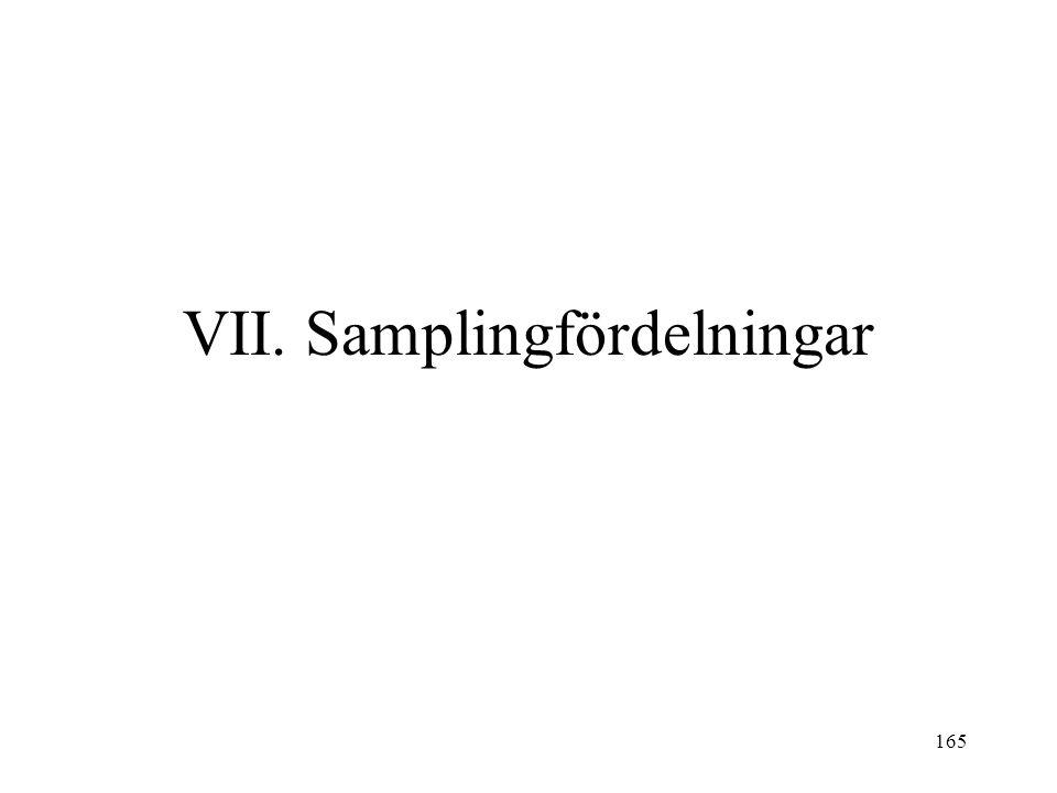 165 VII. Samplingfördelningar
