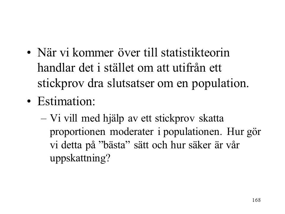 168 När vi kommer över till statistikteorin handlar det i stället om att utifrån ett stickprov dra slutsatser om en population. Estimation: –Vi vill m