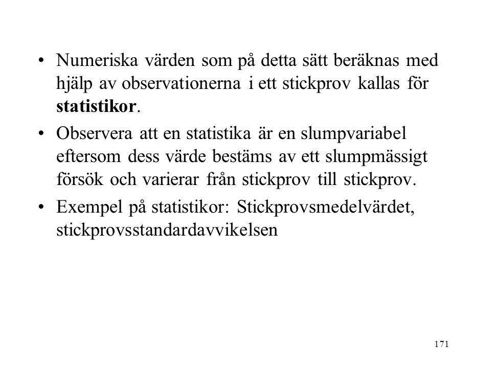 171 Numeriska värden som på detta sätt beräknas med hjälp av observationerna i ett stickprov kallas för statistikor.
