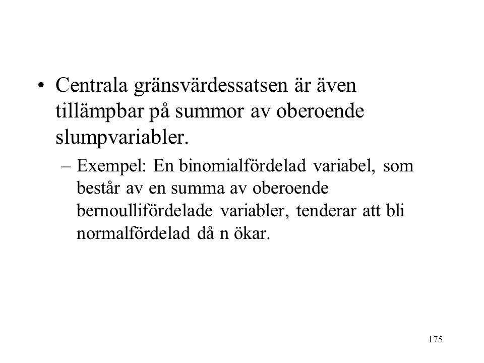 175 Centrala gränsvärdessatsen är även tillämpbar på summor av oberoende slumpvariabler. –Exempel: En binomialfördelad variabel, som består av en summ