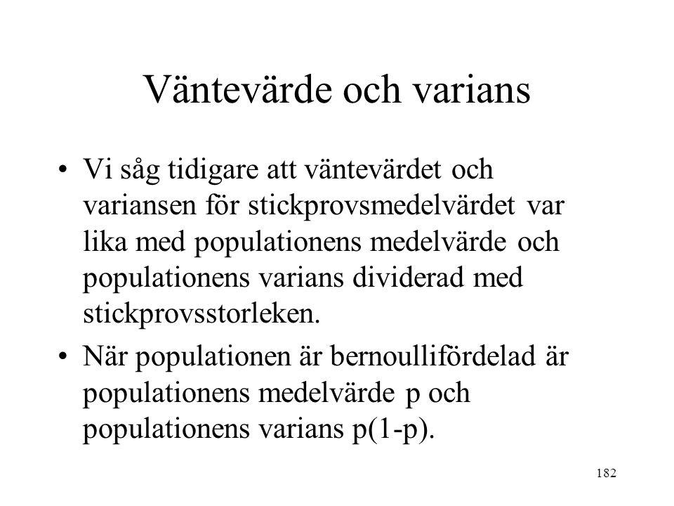 182 Vi såg tidigare att väntevärdet och variansen för stickprovsmedelvärdet var lika med populationens medelvärde och populationens varians dividerad med stickprovsstorleken.