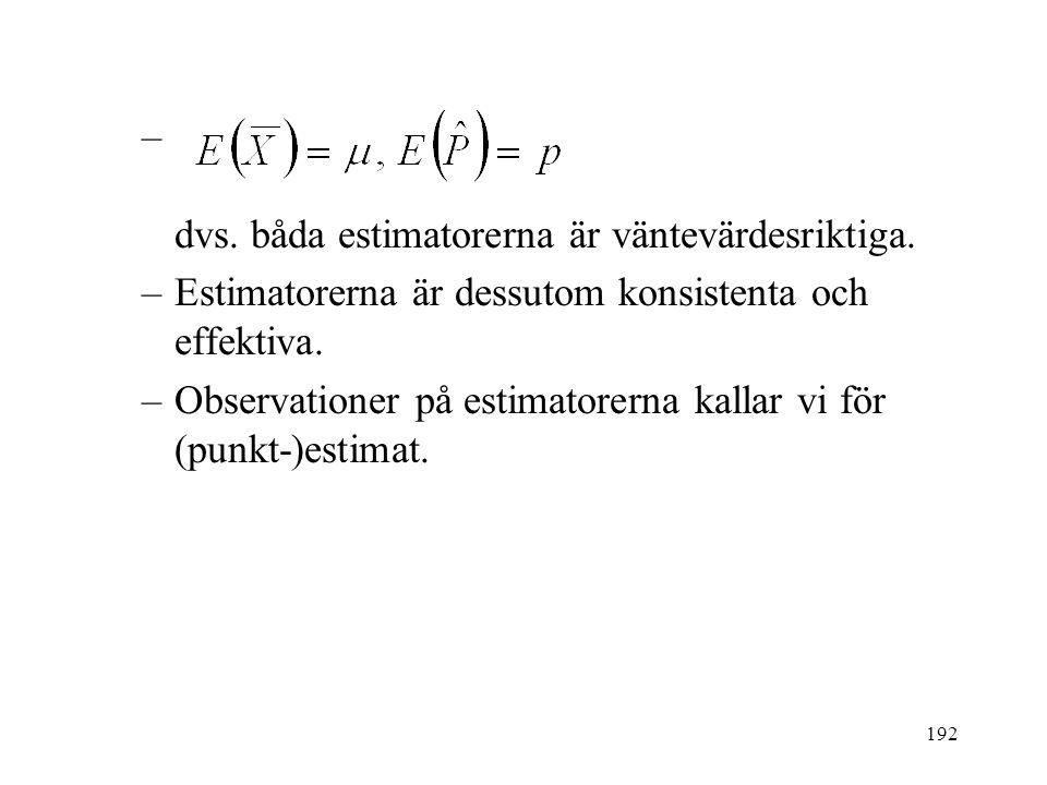 192 – dvs. båda estimatorerna är väntevärdesriktiga. –Estimatorerna är dessutom konsistenta och effektiva. –Observationer på estimatorerna kallar vi f