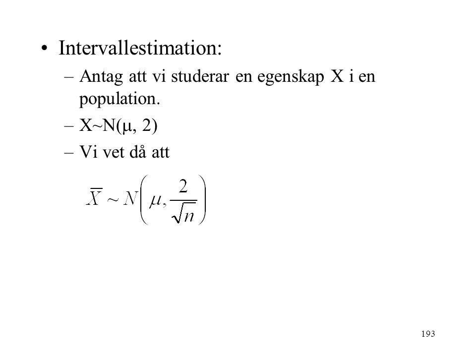193 Intervallestimation: –Antag att vi studerar en egenskap X i en population. –X~N( , 2) –Vi vet då att