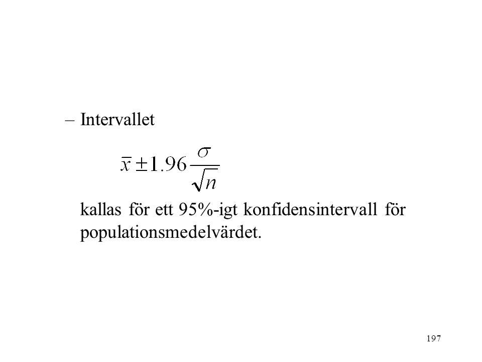 197 –Intervallet kallas för ett 95%-igt konfidensintervall för populationsmedelvärdet.
