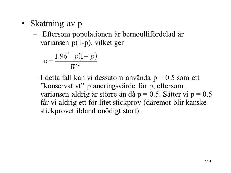 215 Skattning av p – Eftersom populationen är bernoullifördelad är variansen p(1-p), vilket ger –I detta fall kan vi dessutom använda p = 0.5 som ett konservativt planeringsvärde för p, eftersom variansen aldrig är större än då p = 0.5.