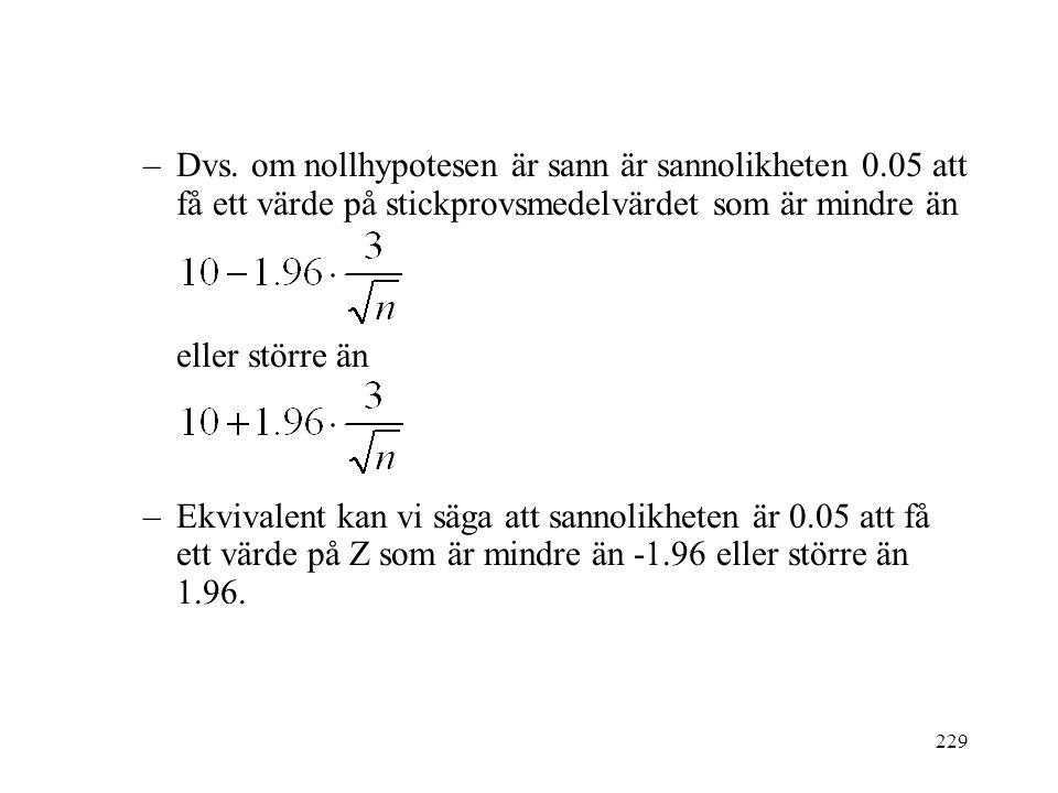 229 –Dvs. om nollhypotesen är sann är sannolikheten 0.05 att få ett värde på stickprovsmedelvärdet som är mindre än eller större än –Ekvivalent kan vi