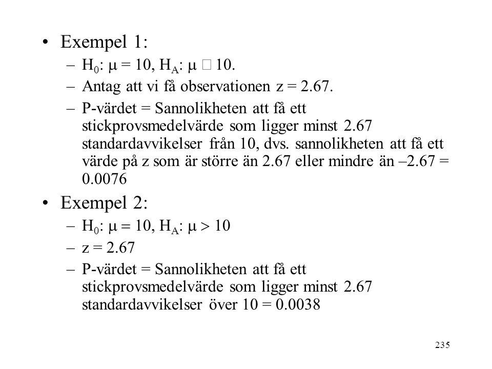235 Exempel 1: –H 0 :  = 10, H A :   0. –Antag att vi få observationen z = 2.67. –P-värdet = Sannolikheten att få ett stickprovsmedelvärde som li