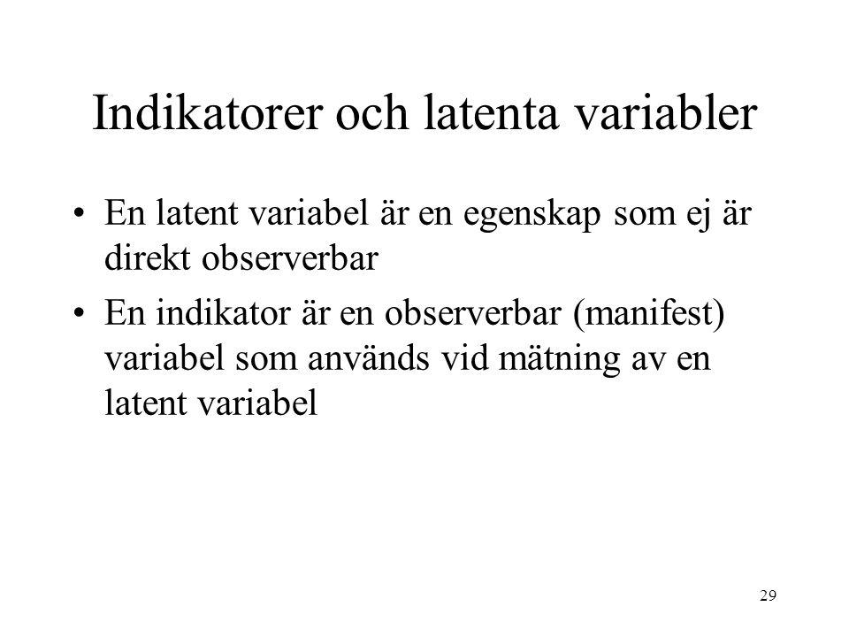 29 Indikatorer och latenta variabler En latent variabel är en egenskap som ej är direkt observerbar En indikator är en observerbar (manifest) variabel som används vid mätning av en latent variabel