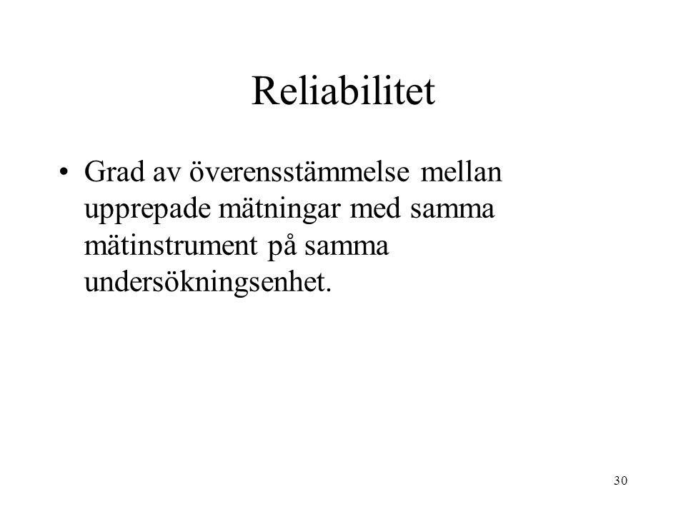 30 Reliabilitet Grad av överensstämmelse mellan upprepade mätningar med samma mätinstrument på samma undersökningsenhet.
