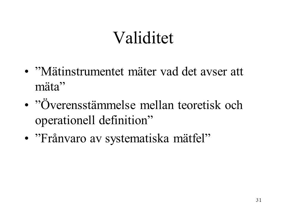 """31 Validitet """"Mätinstrumentet mäter vad det avser att mäta"""" """"Överensstämmelse mellan teoretisk och operationell definition"""" """"Frånvaro av systematiska"""