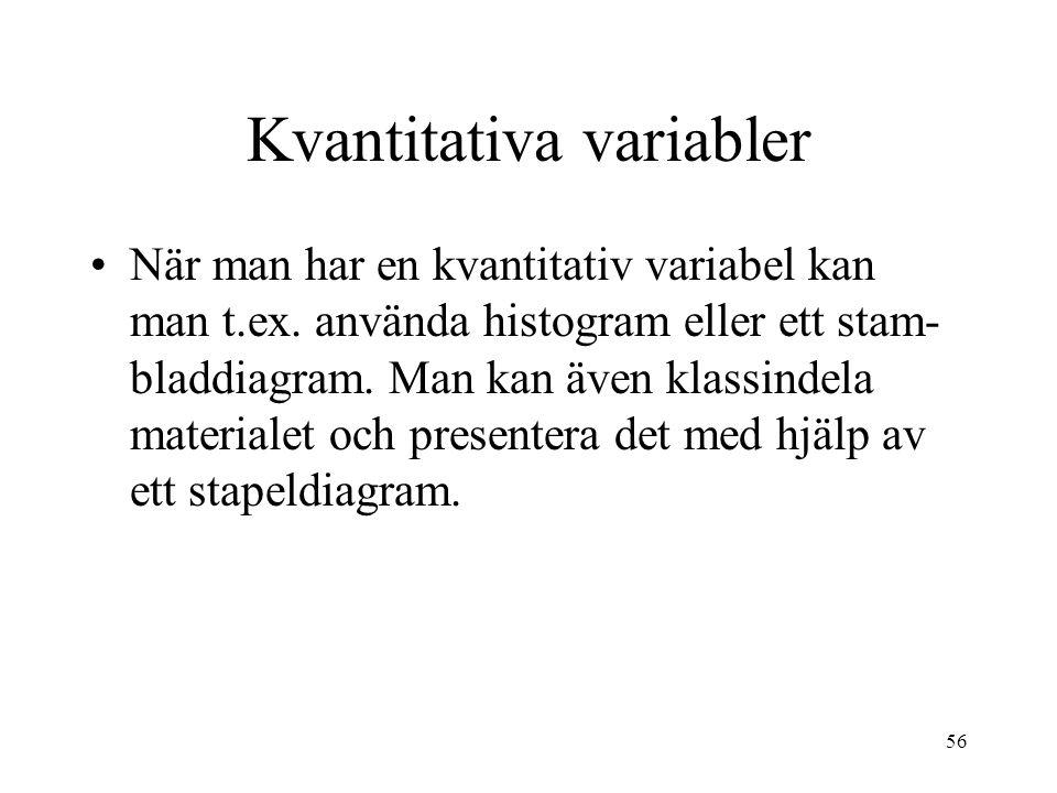 56 Kvantitativa variabler När man har en kvantitativ variabel kan man t.ex.