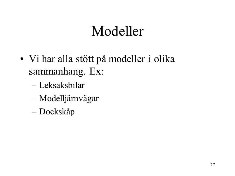 77 Modeller Vi har alla stött på modeller i olika sammanhang. Ex: –Leksaksbilar –Modelljärnvägar –Dockskåp