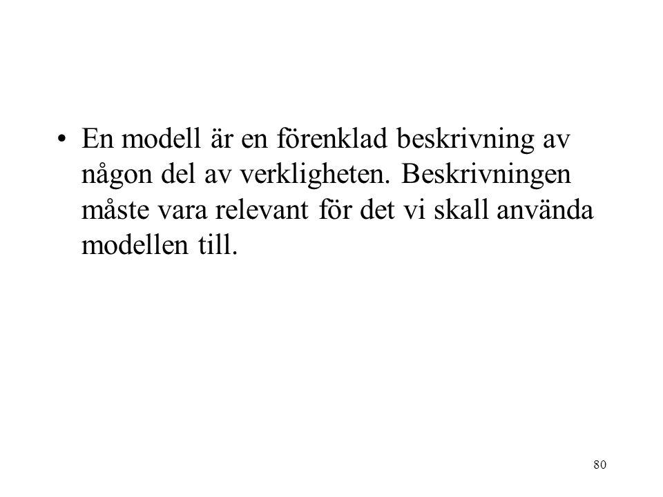 80 En modell är en förenklad beskrivning av någon del av verkligheten. Beskrivningen måste vara relevant för det vi skall använda modellen till.