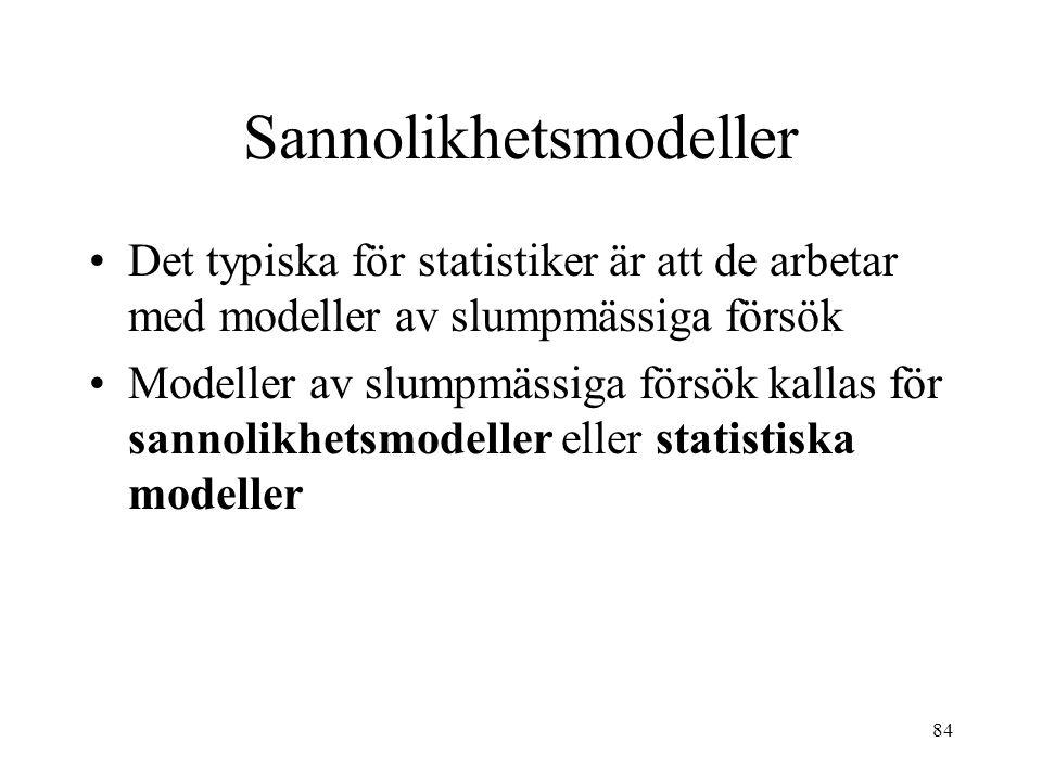 84 Sannolikhetsmodeller Det typiska för statistiker är att de arbetar med modeller av slumpmässiga försök Modeller av slumpmässiga försök kallas för sannolikhetsmodeller eller statistiska modeller