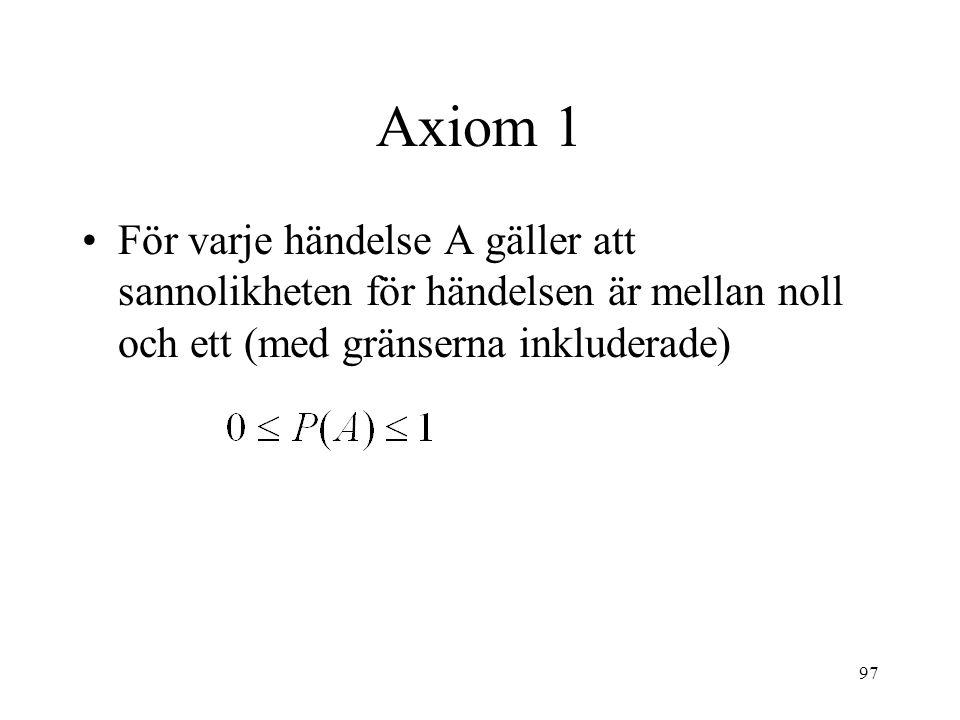 97 Axiom 1 För varje händelse A gäller att sannolikheten för händelsen är mellan noll och ett (med gränserna inkluderade)