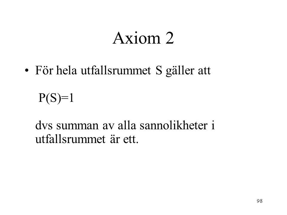98 Axiom 2 För hela utfallsrummet S gäller att P(S)=1 dvs summan av alla sannolikheter i utfallsrummet är ett.