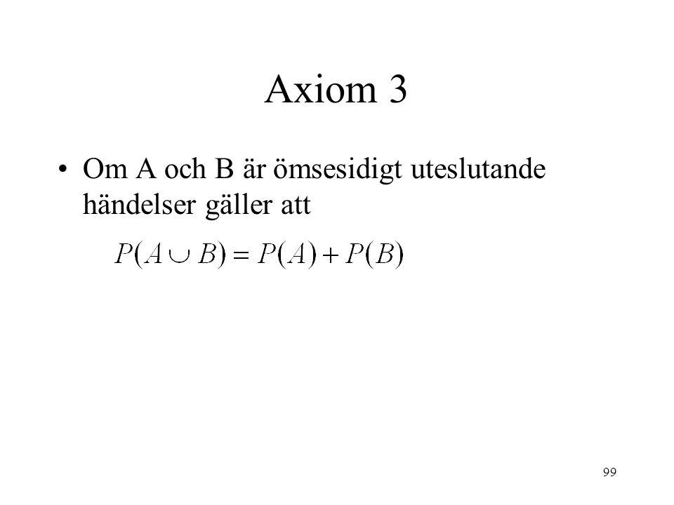 99 Axiom 3 Om A och B är ömsesidigt uteslutande händelser gäller att