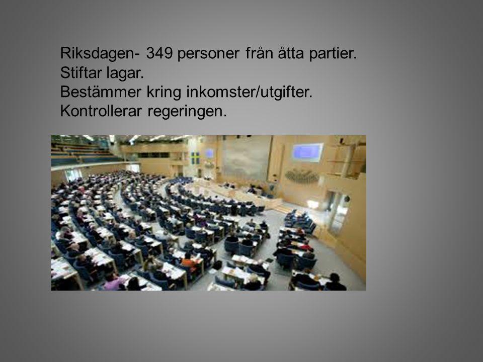 Riksdagen- 349 personer från åtta partier. Stiftar lagar. Bestämmer kring inkomster/utgifter. Kontrollerar regeringen.